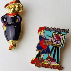 TWO Red Hat Society Pins